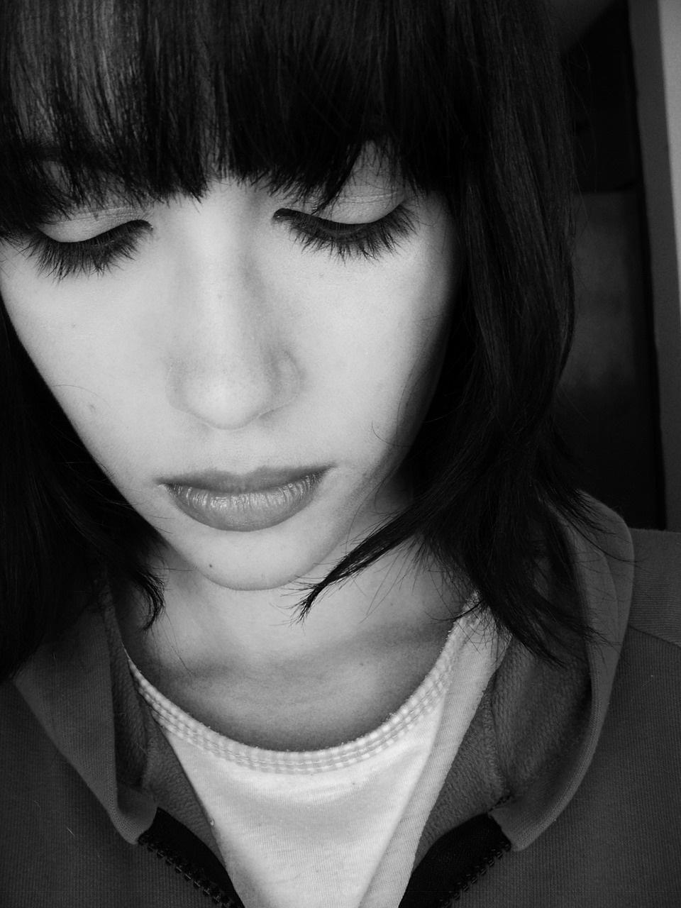 sad demeanour on woman face