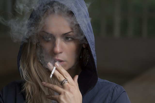 woman smoking addiction serious