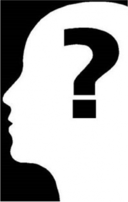 monochrome silhouette questioning
