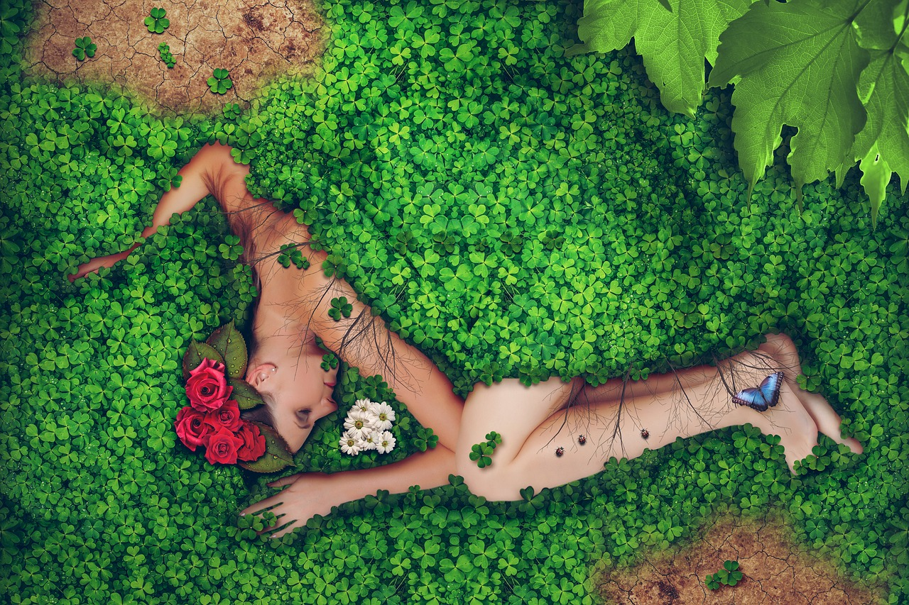lady sleeping in nature